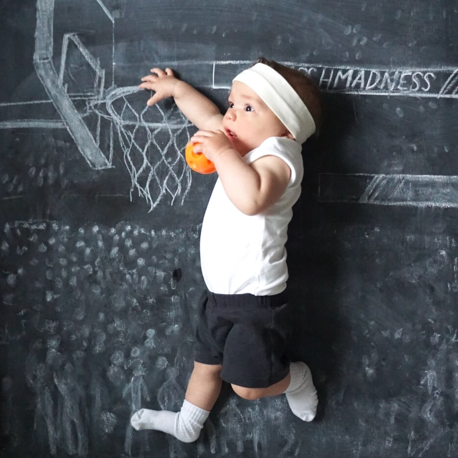 Chalkboard Art. Newborn Photography. Creative Monthly Milestone Photo. Chalk Art. Basketball. Baby Slam Dunking a Basketball.