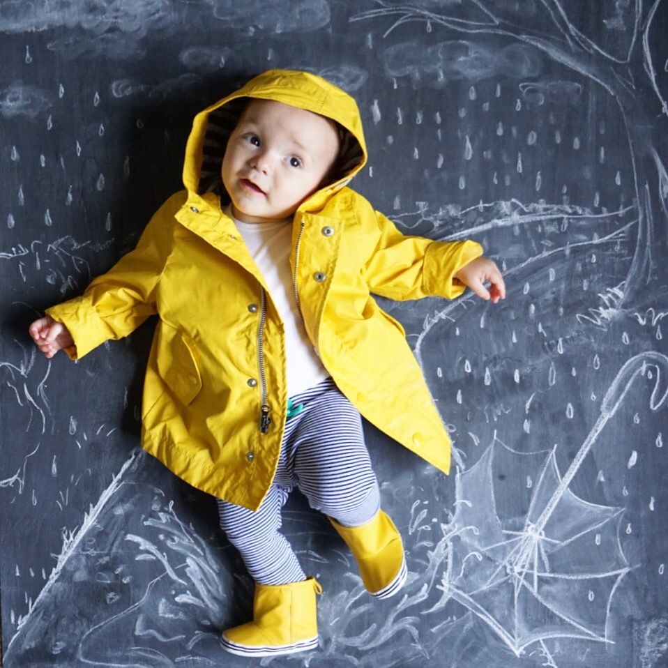 Teddy In A Rain Jacket Chalkboard