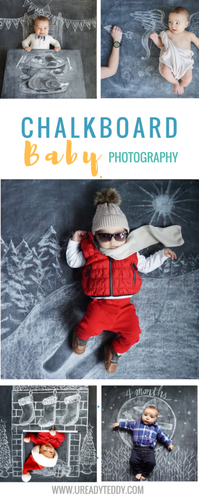 Chalkboard Baby Photography. Creative Newborn Photos. Funny Baby Pics. Nezo Art. Chalk Art. Blackboard Art. Monthly Baby Milestone Photos.