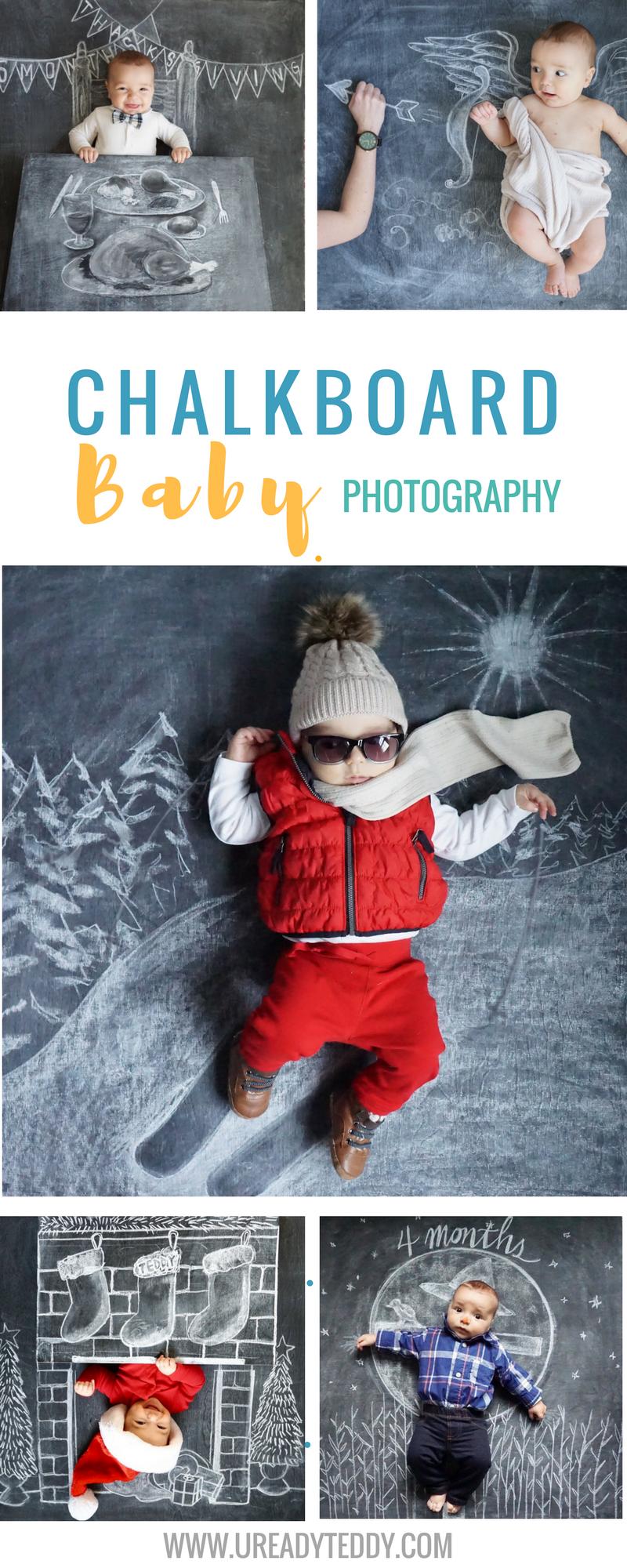 Chalkboard Baby Photography. Creative Newborn Photos. Funny Baby Pics. Nezo Art. Chalk Art. Blackboard Art. Monthly Baby Milestone Photos.