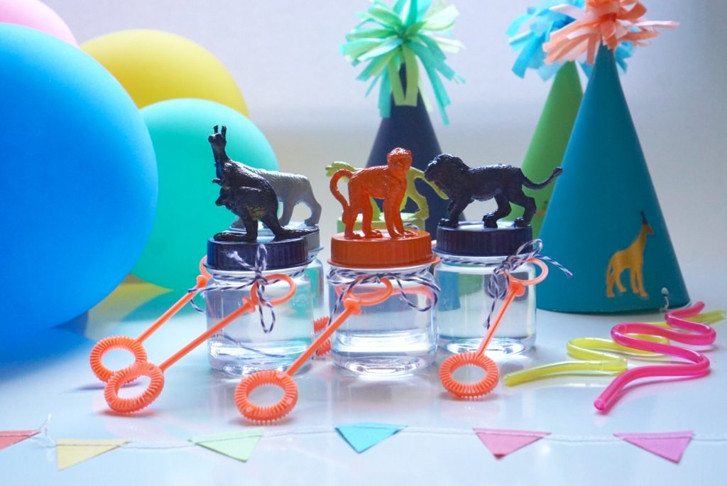 bubble party favors colorful animal topper kids birthday party