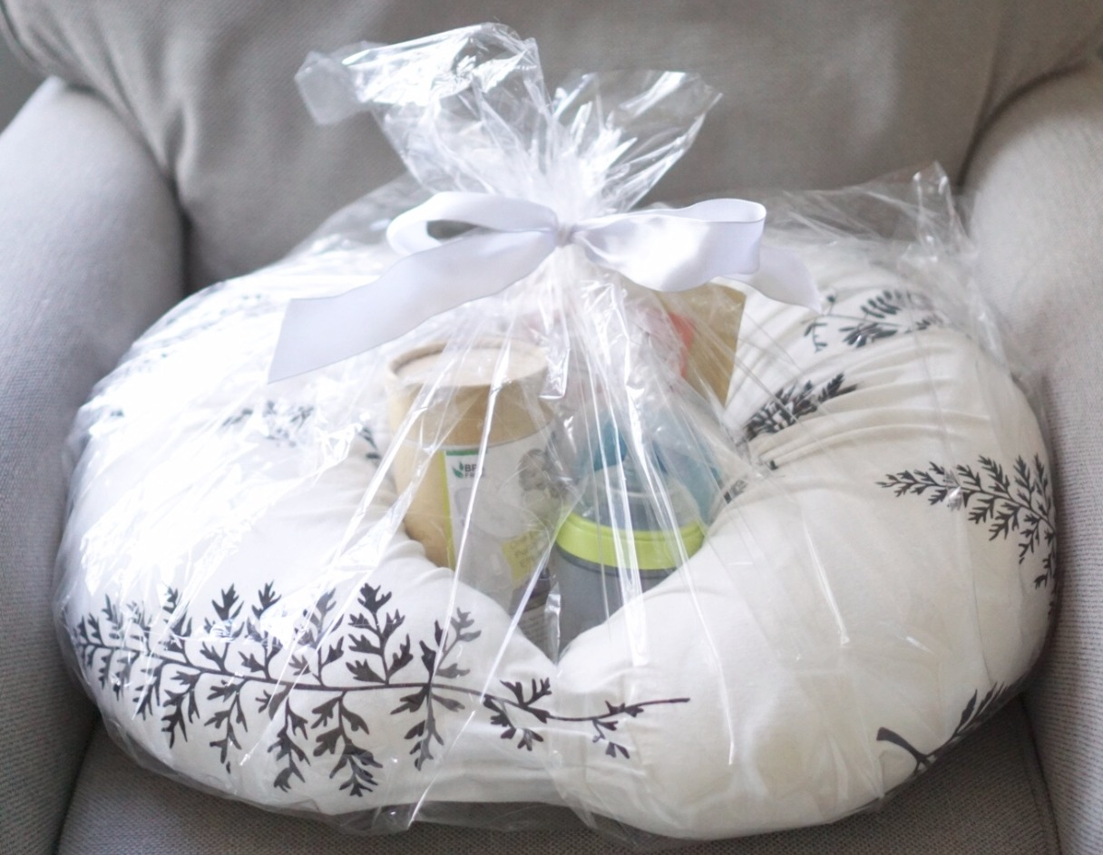Breastfeeding gift basket made out of a boppy pillow