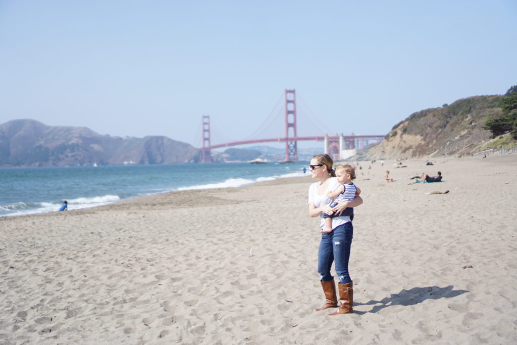Baker Beach baby in San Francisco Presidio Golden Gate Park