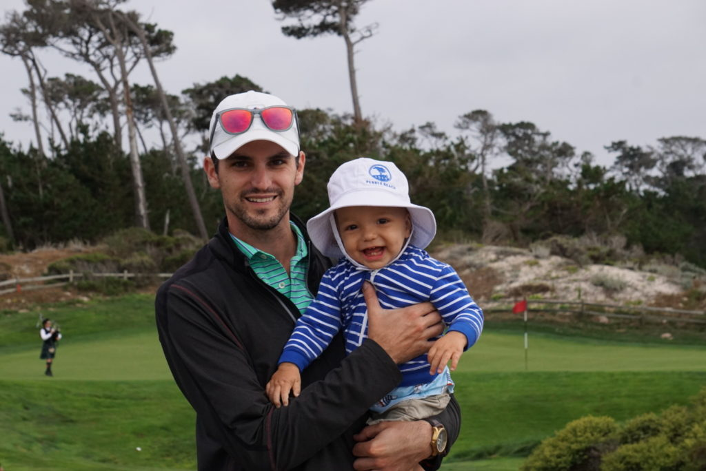 pebble beach with toddler