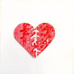 styrofoam print heart craft