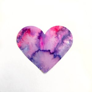 watercolor marker heart craft