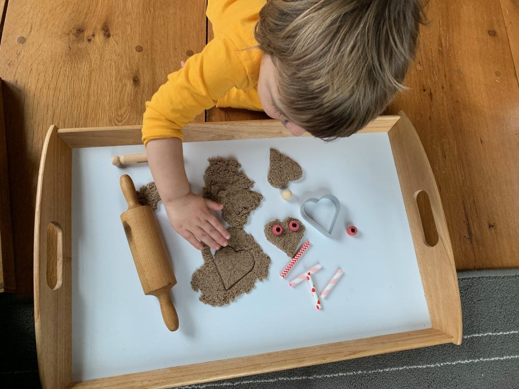 Valentine Sensory Toddler Activity with Kinetic Sand + Cookie Cutters