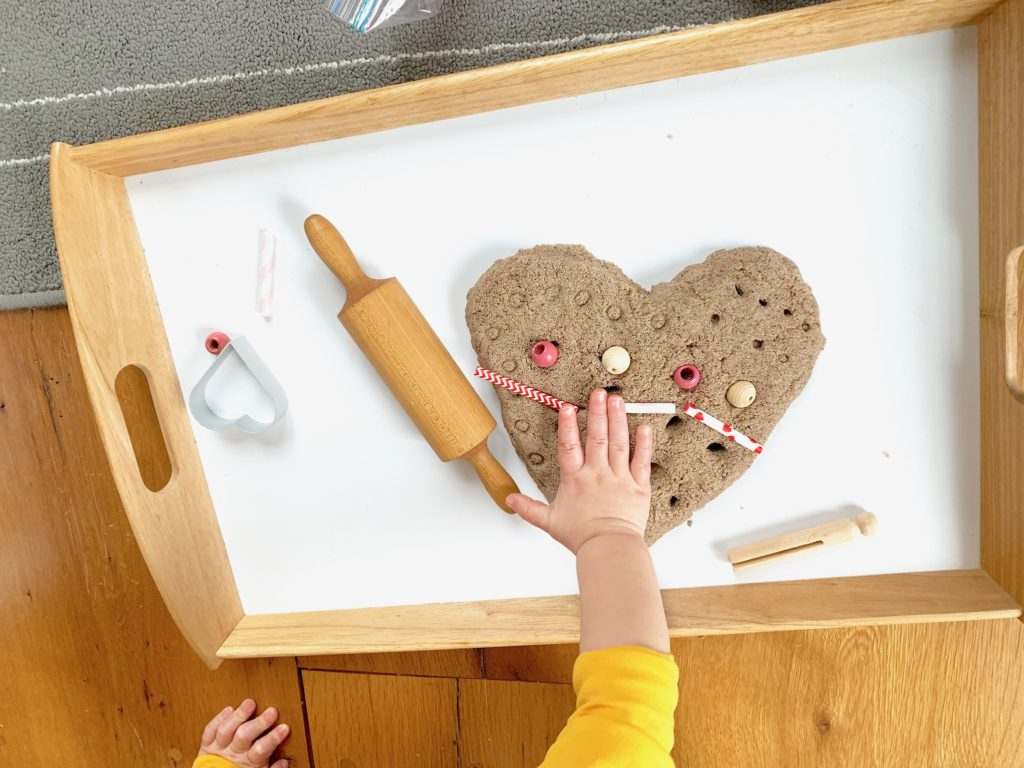 Valentine Sensory Toddler Activity with Kinetic Sand + Pattern Hearts