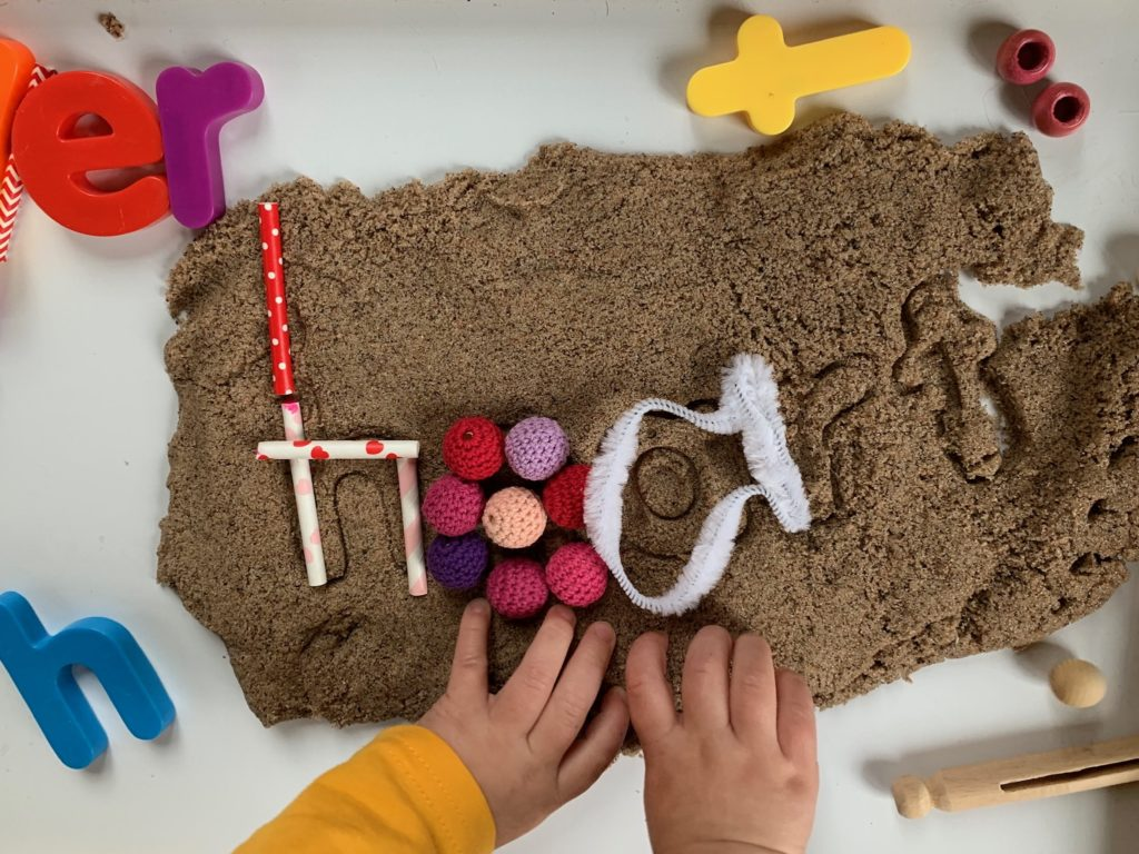 Valentine Kinetic Sand + Tinker tray for toddlers