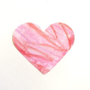 Watercolor wax resist heart craft
