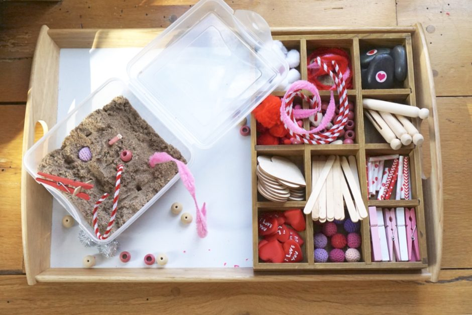 valentine's day toddler tinker tray activities