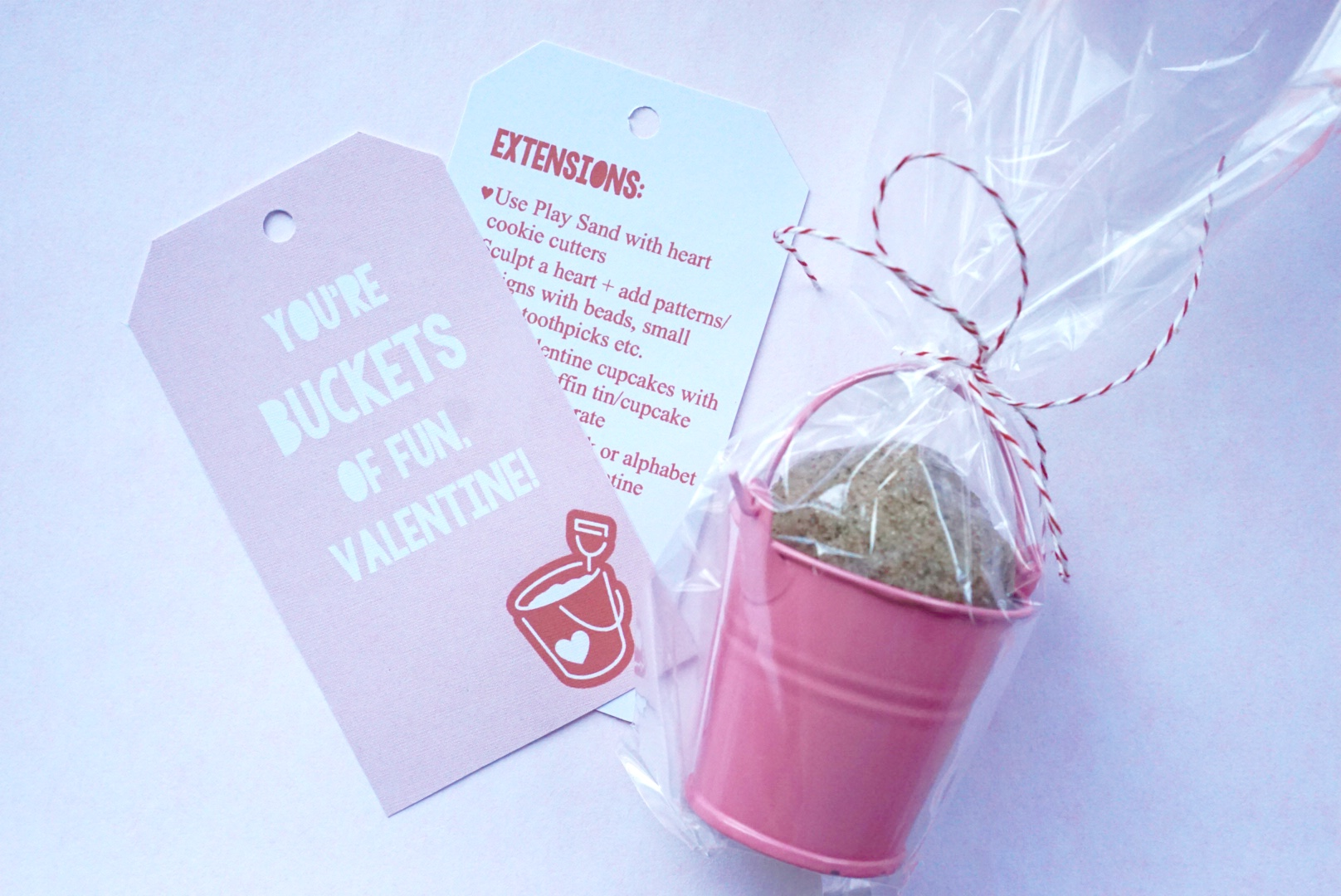 Kinetic Sand You're Buckets of Fun non-food Valentine Gift for Toddlers with Free Printable Tag + Kinetic Sand Activities