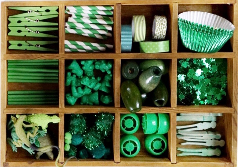 St. Patrick's Day Green Tinker Tray Reggio Emilia Loose Parts Invitation to Create