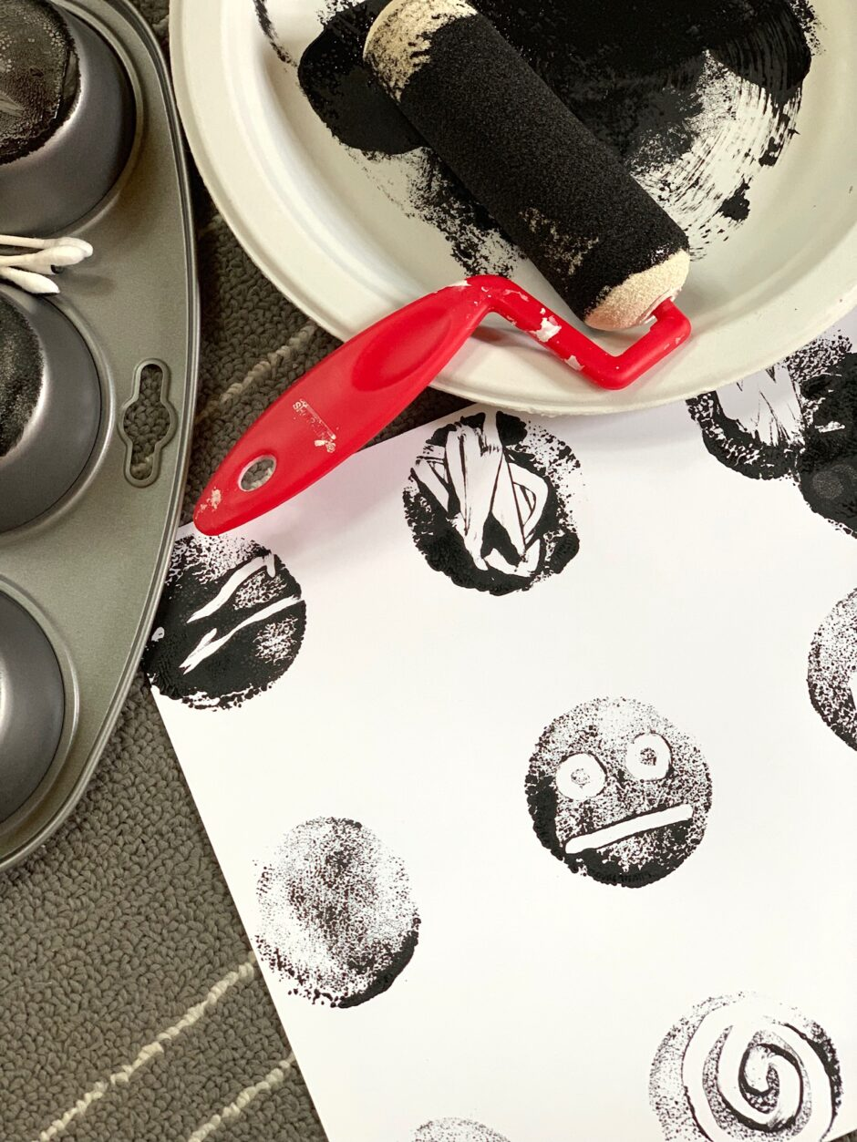 Muffin Tin Monoprints