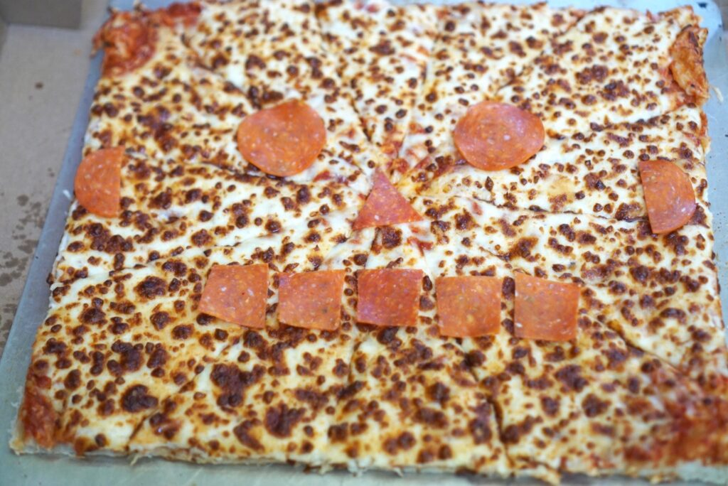 robot face square pizza party menu
