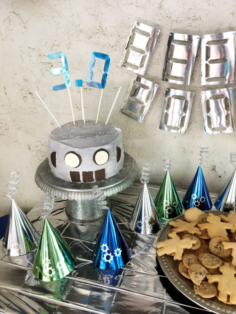 Robot birthday cake hats banner decorations