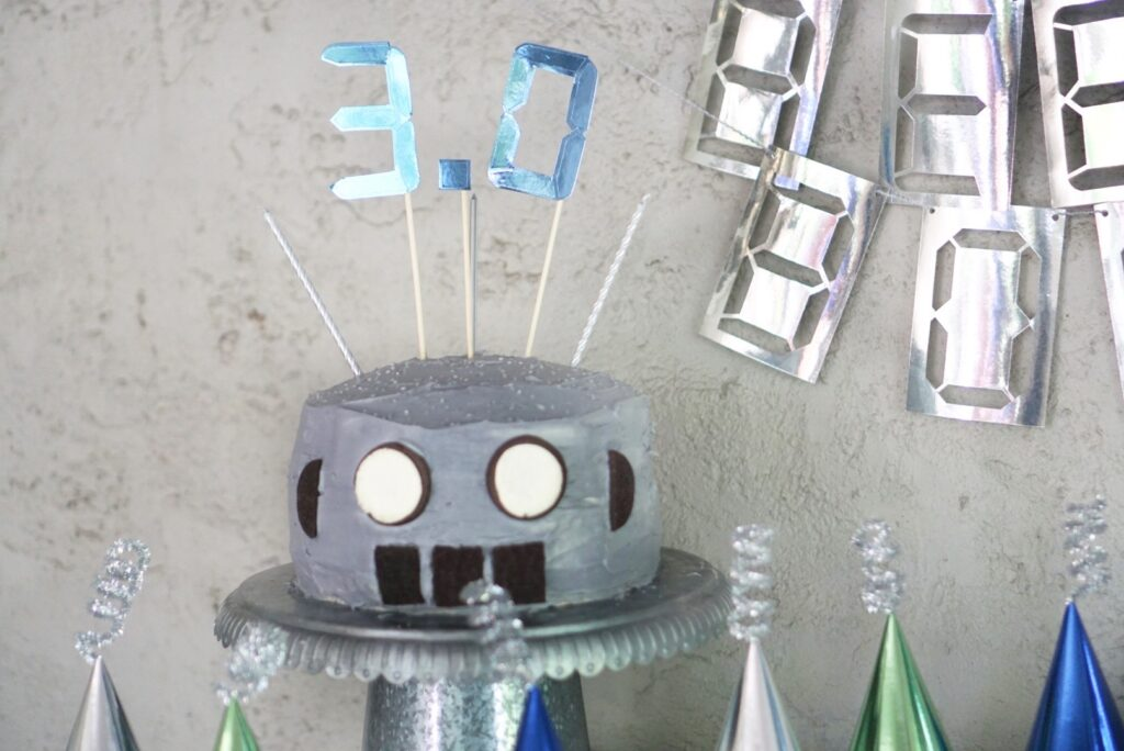 Robot Party Cake and Topper