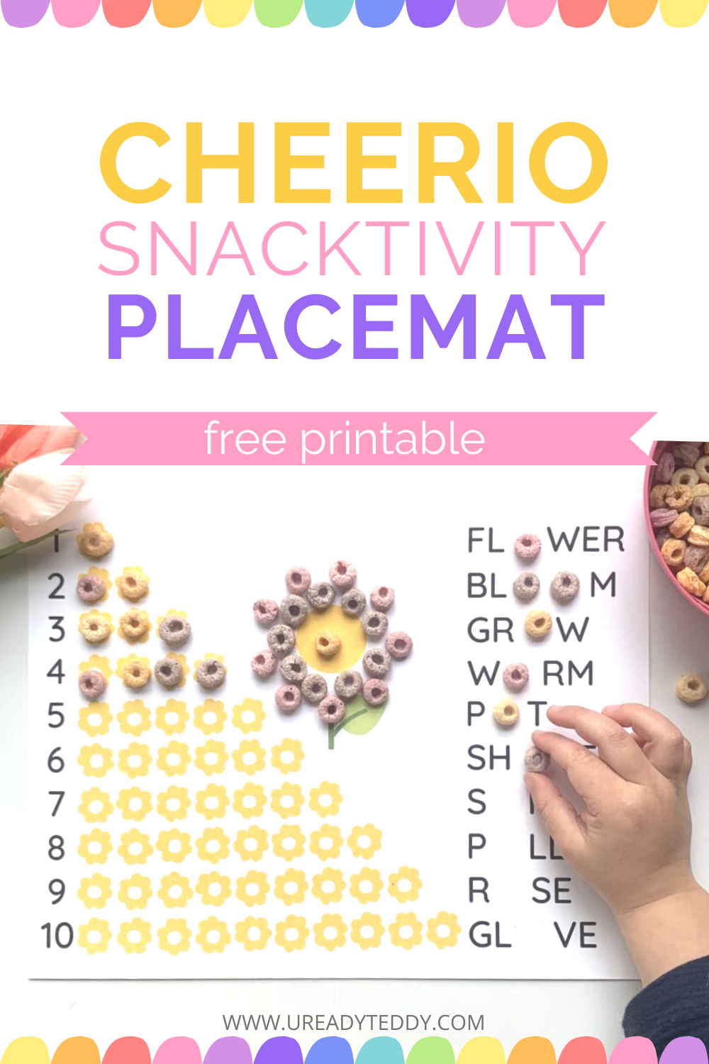 Cheerio placemat cereal free printable worksheet counting, flower garden sight words art, snacktivty, craftivity