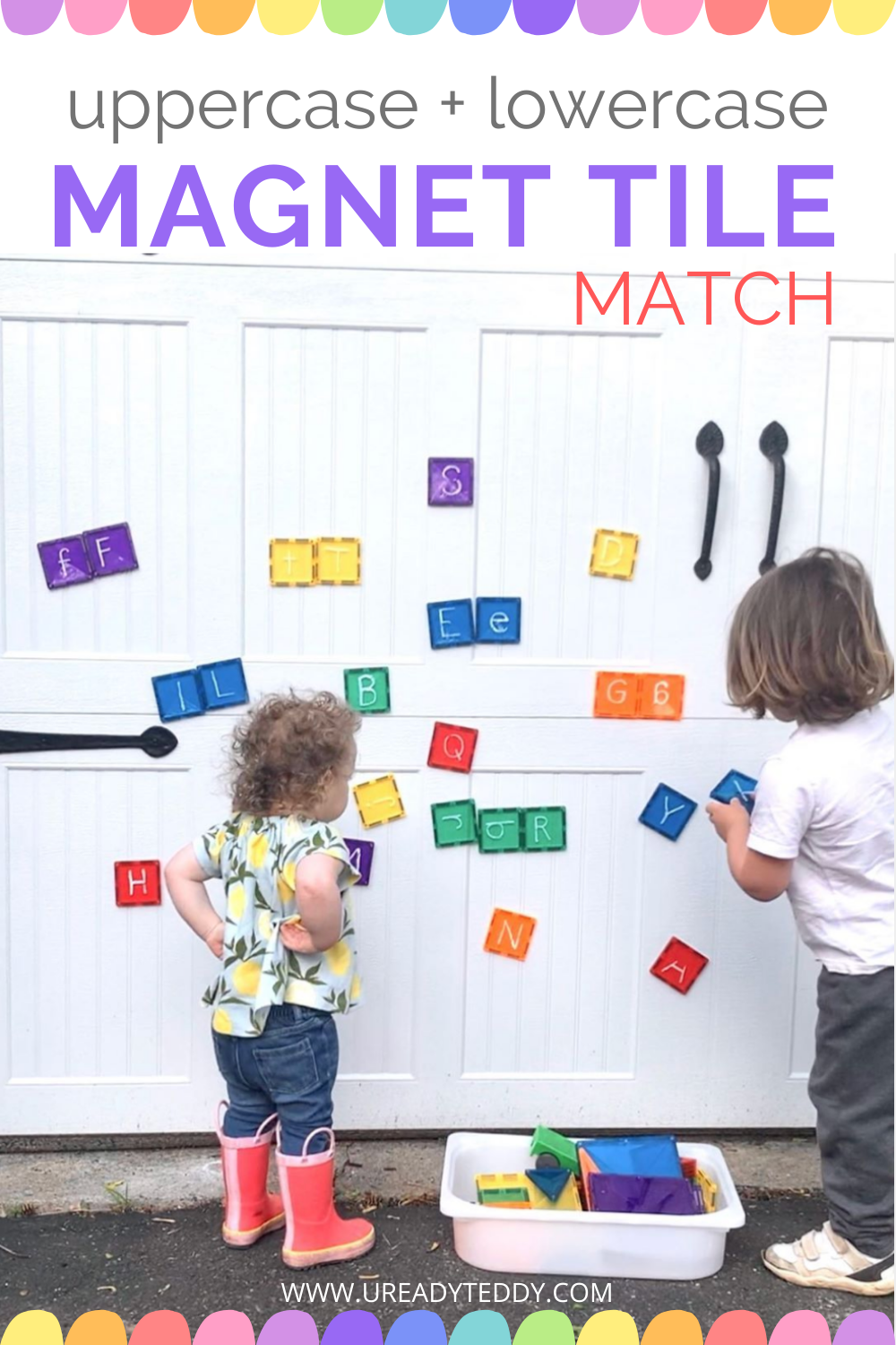Uppercase Lowercase Magnet Tile Matching Activity, Early Literacy, Magnatile, Connetix, Garage Door, Chalk Marker, Dry Erase Marker Alphabet