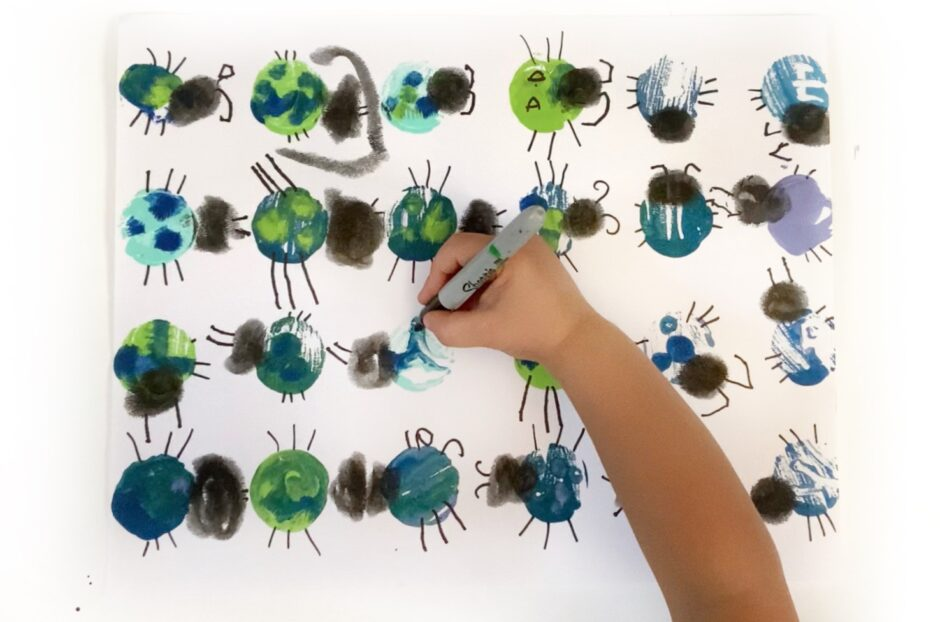Cupcake Tin Bug Prints for Kids